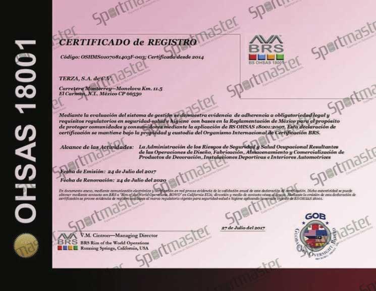Pasto Sintetico terza Certificado OSHAS