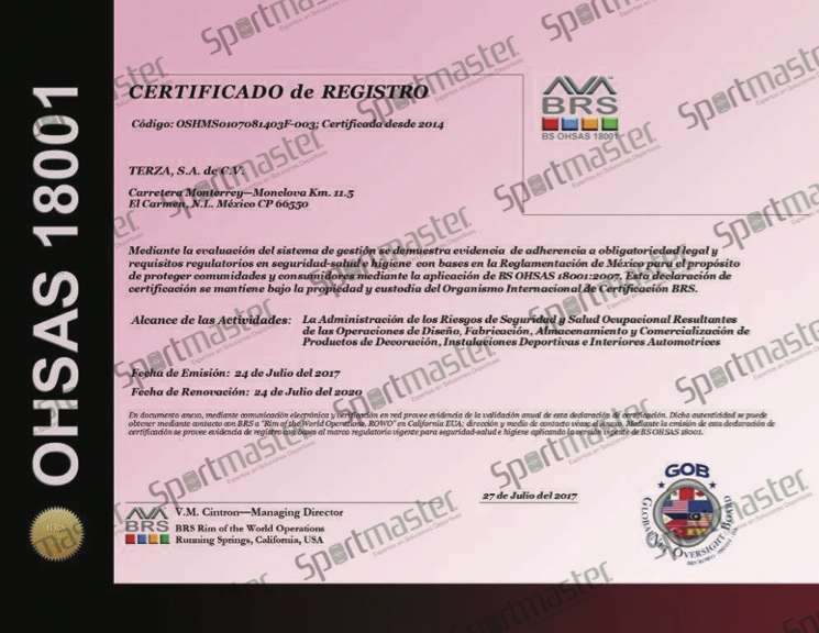 TERZA OSHMS-OHSAS Certificado